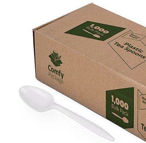 Plastic Tea Spoons Medium Weight - White 1000 Count