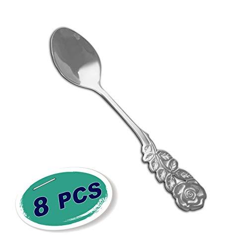 Wenkoni Tea Spoons Coffee Spoons Sugar SpoonsIce Cream SpoonsStirring Spoons Creative Stainless Steel Rose handle spoons8 pcs Set ColorSilver