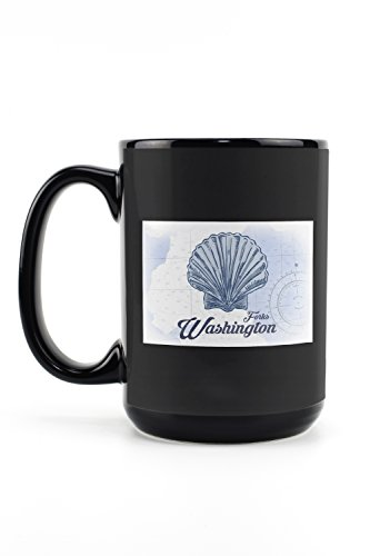 Forks Washington - Scallop Shell - Blue - Coastal Icon 15oz Black Ceramic Mug - Dishwasher and Microwave Safe