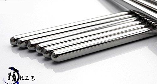 Makidar 10 Pairs of 304 Stainless Steel Chopsticks Anti-skid Anti-hot design vacuum chopsticks