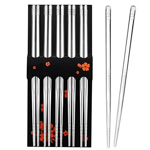 Rbenxia 5 Pcs Stainless Steel Chopsticks 89 Inches Chopstick Reusable Metal Steel Chopstick 6MM Thickness for Kitchen Dinner Silver