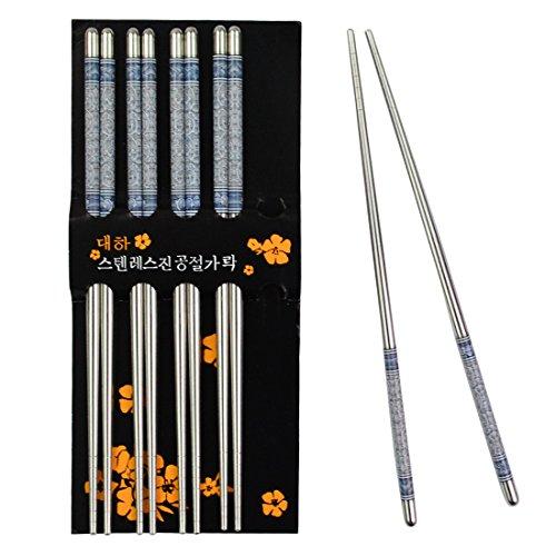 Rbenxia Metal Steel Chopstick Stainless Steel Flower Print Chopsticks 88 Inches Long Lightweight Chopstick Set Reusable Classic Style for Kitchen Dinner 5 Pairs