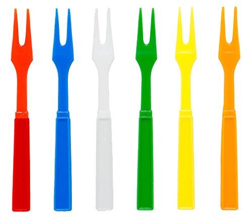 Soodhalter Par-T-Fork 60 Plastic Cocktail Forks 6 Color Assortment 325 Inch Appetizer Picks