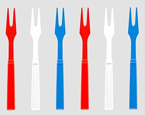 Soodhalter Patriotic American Par-T-Fork 60 Red White Blue Plastic Cocktail Forks 325 Inch Appetizer Picks