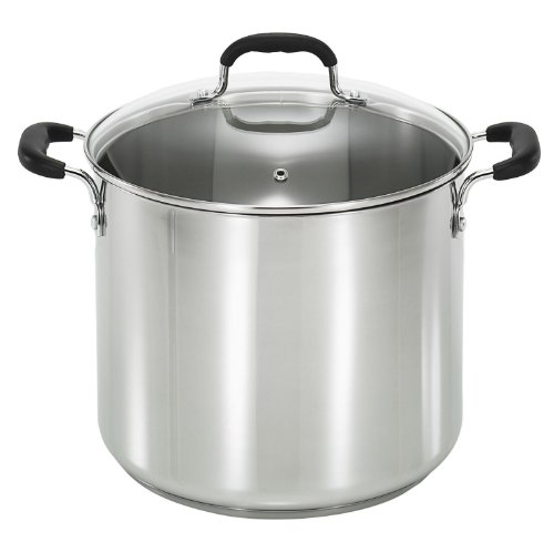 T-fal C88881 Stainless Steel Oven Safe Dishwasher Safe Pfoa Free Stock Pot Cookware, 12-quart, Silver