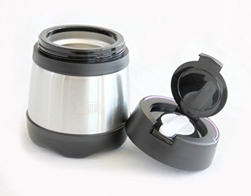 Vacuum Insulated Stainless Steel 12oz Thermos Food Jar with Spoon and carry handle Black  Purple Black