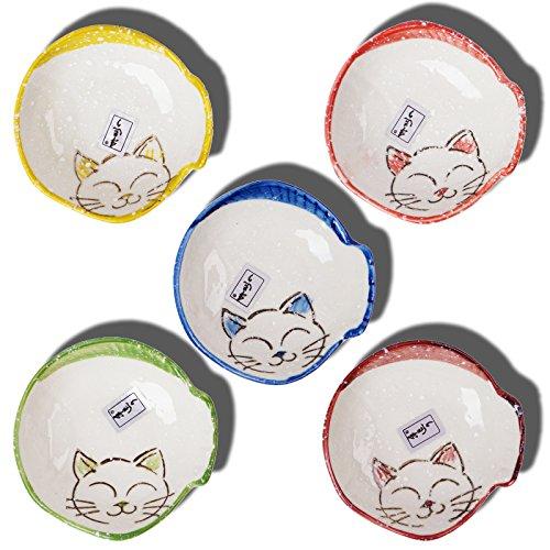 DDLIFESTYLE Cat Porcelain Ceramic Sauce DishSeasoning Dish Appetizer Plates Serving Dish Cream Soup Bowls and SaucerDinnerware Set for All Kind of Sauce 5PCS