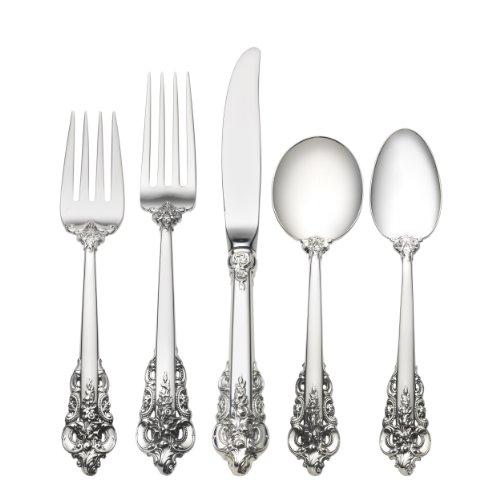 Wallace Grande Baroque 46-Piece Sterling Flatware Set with Cream Soup Spoon