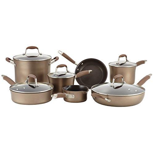 Anolon 84066 Advanced Hard Anodized Nonstick Cookware Pots and Pans Set 12 Piece Bronze