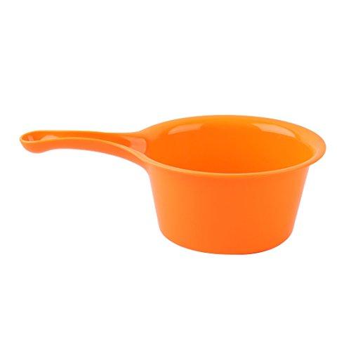 uxcell Plastic Round Shape Home Kitchen Nonslip Grip Water Dipper Ladle Bailer Orange