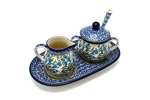 Polish Pottery Cream Sugar Set with Sugar Spoon - Blue Bells