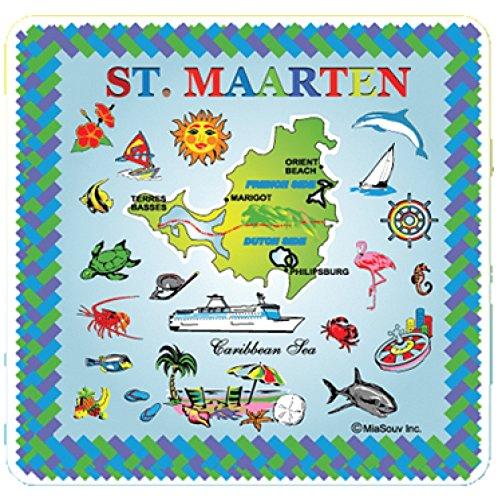 Tile 6 x 6 Map of St Maarten Kitchen Trivet Holder Ceramic Hot Plate Tile