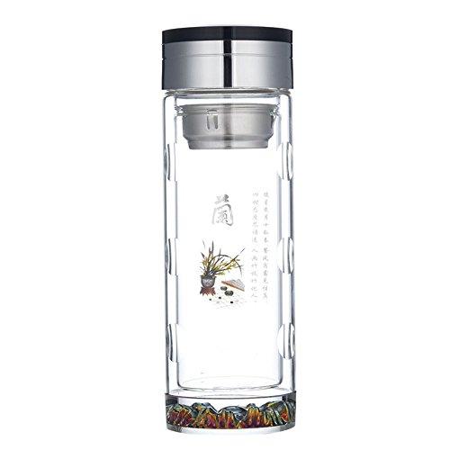 Da Ben Tai-Eco Tea Tumbler Travel Mug Glass Water Bottle – Stainless Steel Filter Infuser - Premium Quality - BPA-Free - Travel - For Loose leaf Tea Teatox Fruit Detox 兰