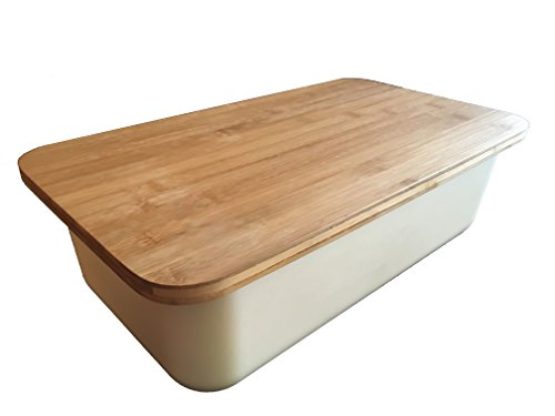 Bamboo Fiber Bread Box Bin With Cutting Board Lid (natural White)