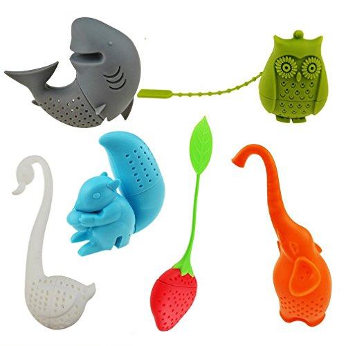 Creative Cute Animal Eco-friendly Silicone Tea Infuser Strainer Tea Steeper Tea Lover's Gift - Set of 6 PCS Elephant Shark Swan Squirrel Strawberry Owl