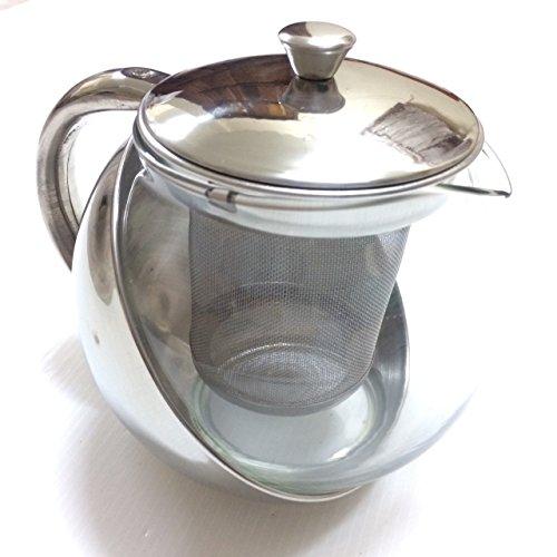 Half-Moon Teapot and Tea Strainer Set Lid Teapot Kettle Kitchen Dining 2536 oz