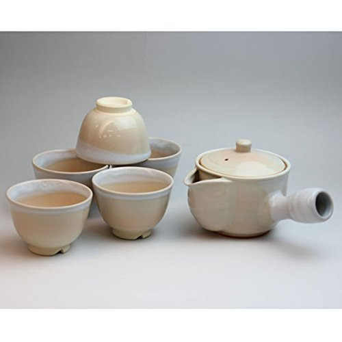 Japanese ceramic Hagi-ware with tea strainer Set of hime bancha teapot and teacups with Wooden box shuto05713