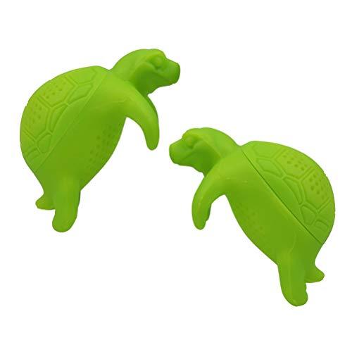BESTONZON 2PCS Cute Silicone Turtle Tea Infuser Animal Loose Leaf Tea Strainer Filter Diffuser Kitchen Tools Green