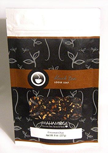 Mahamosa Chai Black Tea Blend and Tea Filter Set 8 oz Coconut Chai Black Tea 100 Loose Leaf Tea Filters Bundle- 2 itemsTea Ingredients Black Tea ginger root cinnamon shredded coconut ginger coconut and vanilla flavor