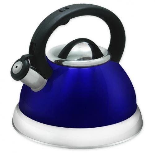 Stainless Steel Whistling Tea Kettle - 28 Liter Encapsulated Tea Maker Pot Blue