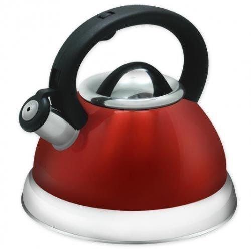 Stainless Steel Whistling Tea Kettle - 28 Liter Encapsulated Tea Maker Pot Red by chainarong seller