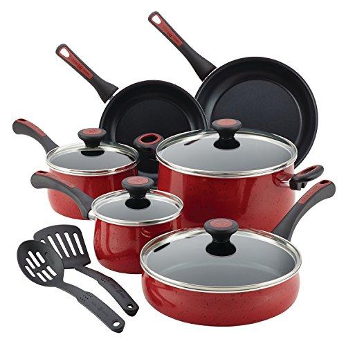 Paula Deen 16991 Riverbend Nonstick Cookware Pots and Pans Set 12 Piece Red Speckle