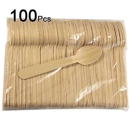 Pomcat 100Pcs Birch Wooden Spoons Utensils Rustic Wedding Party Shower Scoops