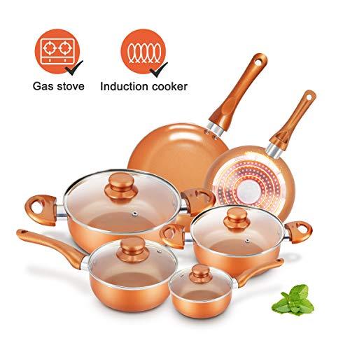 KUTIME 10pcs Cookware Set Pot and Pan Set Non-stick Frying Pans Set Ceramic Coating Soup Pot Milk Pot Copper Aluminum Pan with Lid Gas Induction Compatible 1 Year After sale service