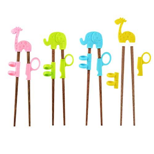 YsesoAi 4 Pairs Wooden Chopsticks for Children Kids Beginners Easy HelperTraining Chopsticks