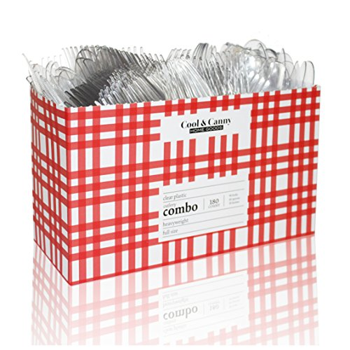 180 Combo Cutlery  Caddy Display Box - Premium Heavy Disposable Clear Plastic Cutlery - Attractive Durable Clear Plastic Gingham design Cool Canny - Full Dinner Size Combo