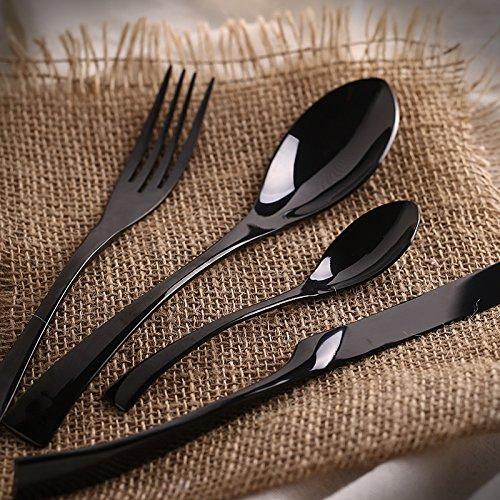 4PcsSet Black Cutlery Set Stainless Steel Western Food Tableware Sets Fork Steak Knife Dinnerware