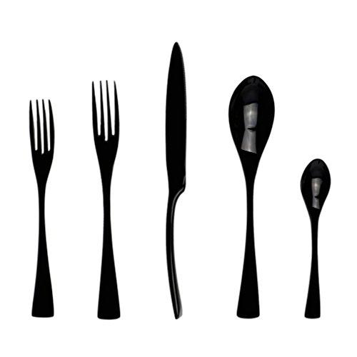 5PcsLot Black 1810 Dinnerware Black Cutlery Set Kitchen Tableware Knife Fork Teaspoon Dinnerware Set