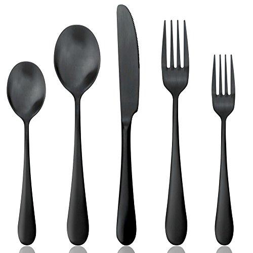 Black Cutlery Set 1 Set Matte Black 1810 Stainless Steel Dinnerware Flatware SetsService for 1 Person