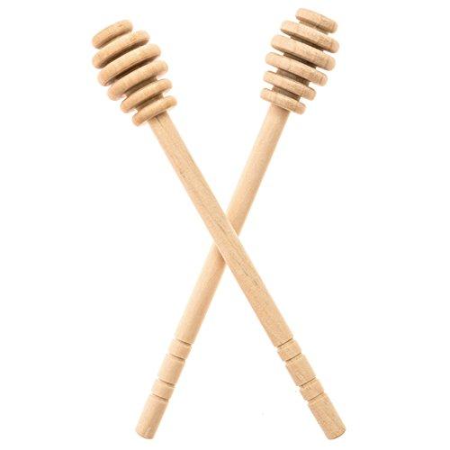 Honey Dipperz 2 PACK - 6 Inches Long 16cm Wooden Honey Dipper Drizzler Stirring Stick Spoon Rod Muddler Dispense