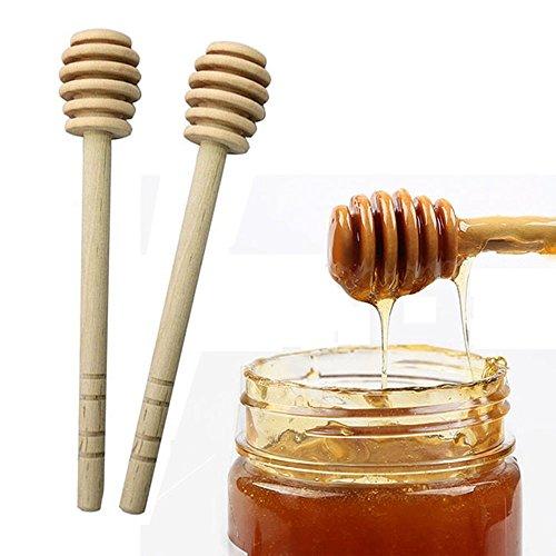MAXGOODS Set of 10 Wooden Jam Honey Dipper Stick Server for Honey Jar Dispense DrizzleHome Kitchen Tool6In