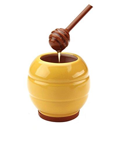 MSC International Joie Bee Hive Honey Jar and Honey Dipper Stick Set Stoneware Yellow