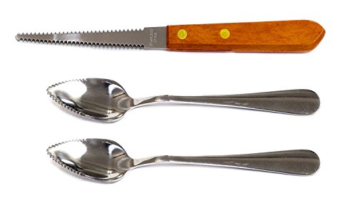 Set of 2 Grapefruit Spoons and 1 Grapefruit Knife Stainless Steel Serrated Edges