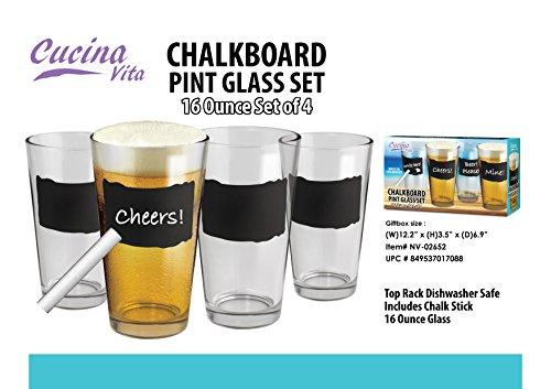 Fine Life Chalkboard Pint Glass Set