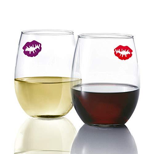 Vinrhuu Plastic Stemless Wine Glasses Set of 4  Bundled With 4 Reusable Kiss Wine Charms For Glasses  16 oz Stemless Wine Glass  Plastic Glasses With Wine Glass Markers  Red Wine Glasses Stemless