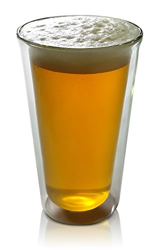 Craft Beer Glass Double Wall Insulated Real Glass Tumbler 14 Ounces Pint-Shape by Princeton Wares