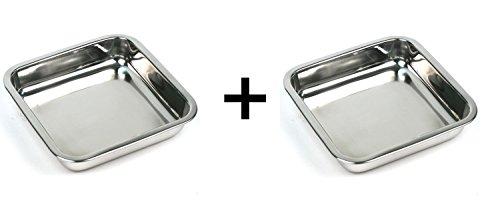 Happy Sales HSSSP-SQ2 8-Inch Stainless Steel Cake Square Pan Set of 2