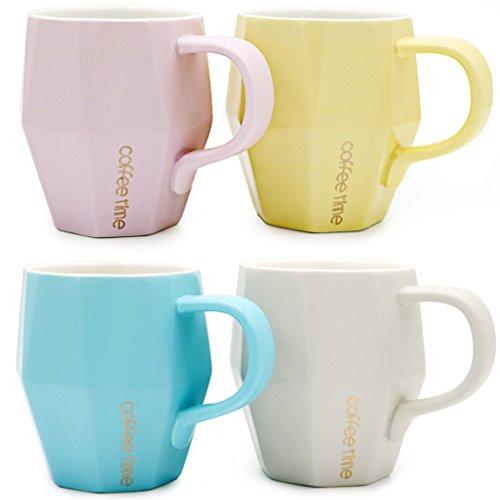 Asmwo Colorful Cute Diamond Cups Unique Ceramic Tea Coffee Mugs Set of 414 Ounce