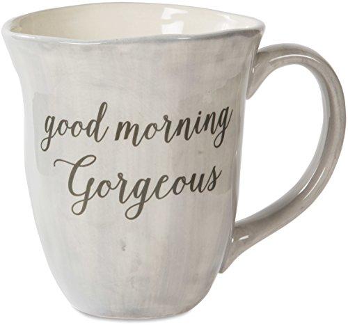 Pavilion Gift Company Emmaline Good Morning Gorgeous Ceramic Coffee Mug 16 oz Gray