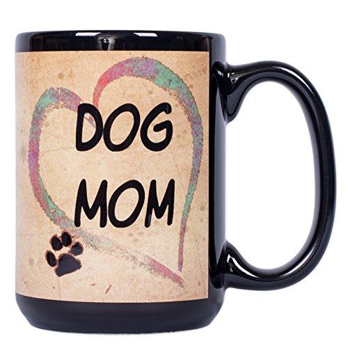 Dog Mom Heart Pawmarks on Black 15 ounce Ceramic Stoneware Coffee Mug