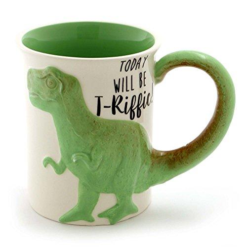 "Enesco 6000549 Our Name Is Mud ""Tea Rex"" Stoneware Sculpted Coffee Mug 16 oz Green"