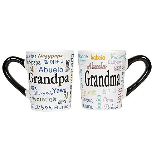 Grandma and Grandpa Languistic Names 20 oz Ceramic Stoneware Coffee Mug Set
