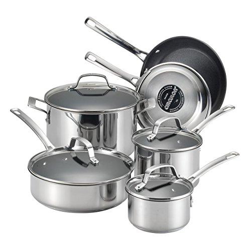 Circulon 77881 Genesis Stainless Steel Cookware Pots and Pans Set 10 Piece