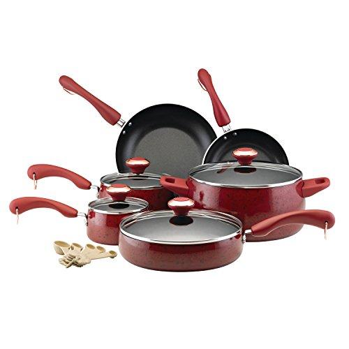 Paula Deen 12512 Signature Nonstick Cookware Pots and Pans Set 15 Piece Red