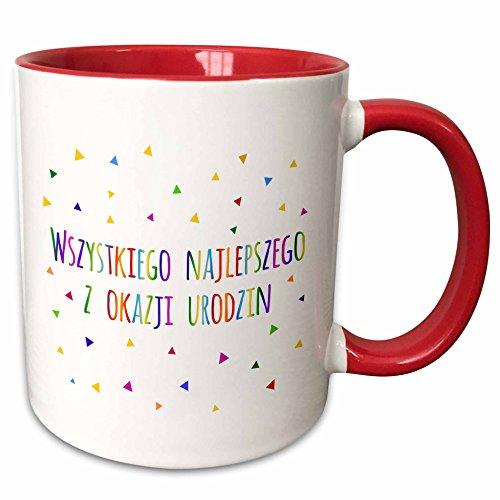 3dRose mug_202047_5 Wszystkiego Najlepszego Z Okazji Urodzin Happy Birthday in Polish Two Tone Red Mug 11 oz RedWhite