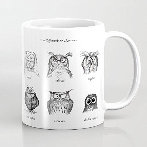LVYZIHO Mug - Caffeinated Owls Personalized Ceramic Coffee Mug White - Funny Wine Mug - 11OZ Coffee Mug - Perfect for Wedding Mothers Day Fathers Day or Friends